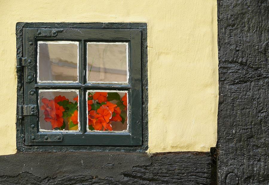 Altes Fenster auf dem Holm - Touristen besuchen gern Schleswig und den Holm während des Urlaub in Schleswig