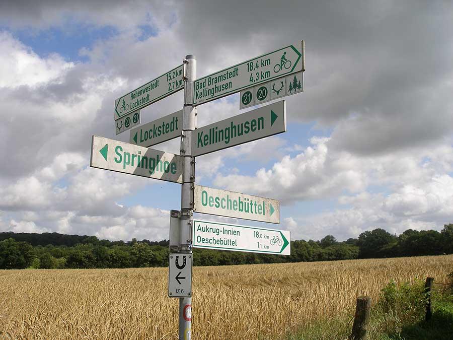 Schilder in der Mitte Schleswig-Holstein