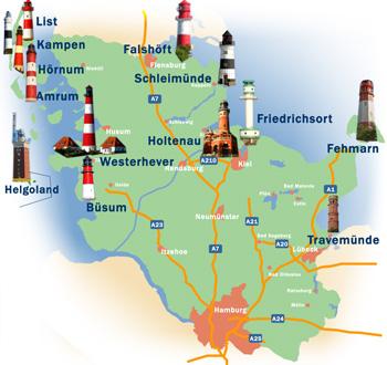 Leuchttürme an den Küsten Schleswig-Holsteins